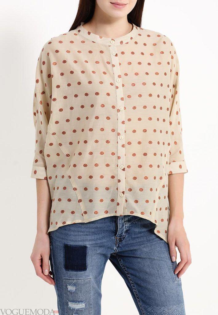 блузка асимметричная в горошек