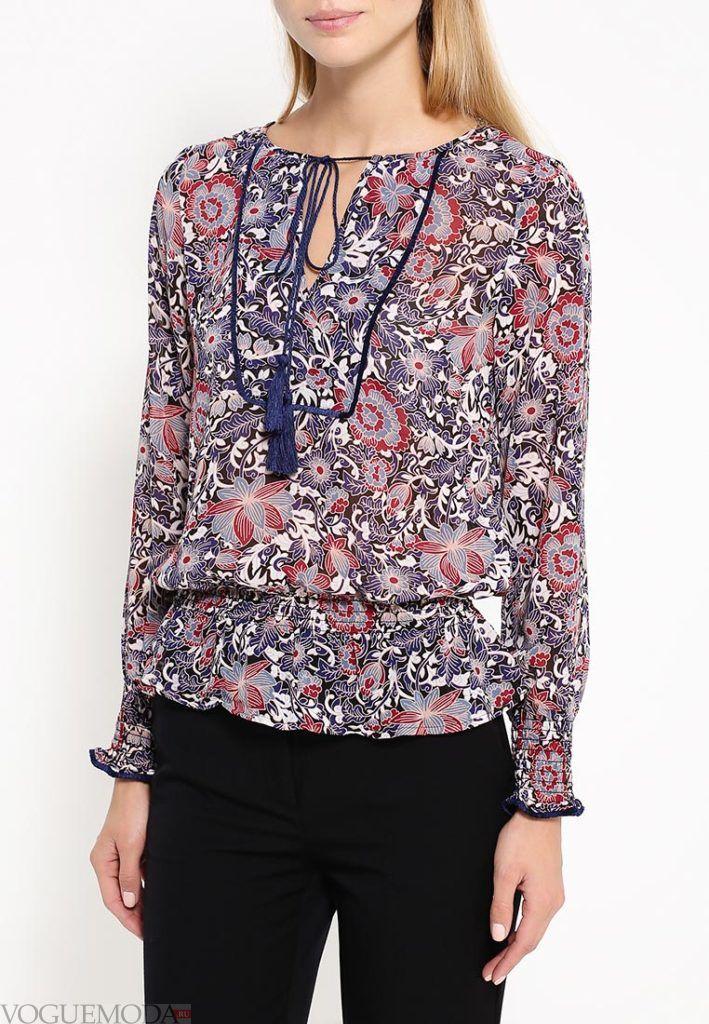 блузка шифоновая в цветок