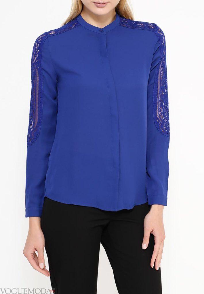 блузка шифоновая синяя