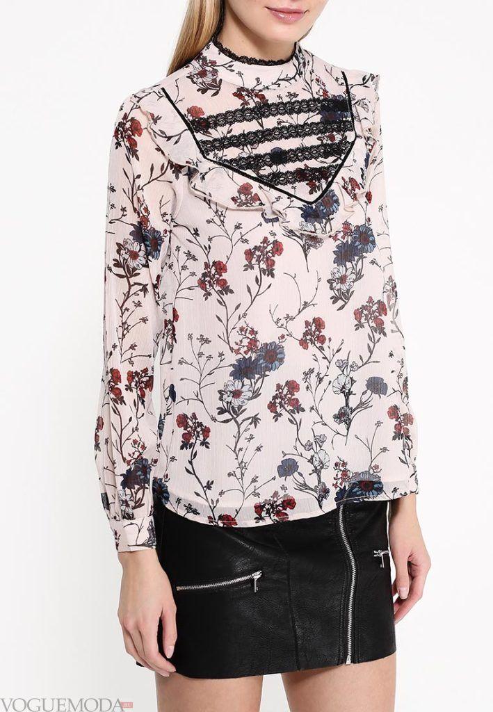 блузка шифоновая с рюшами