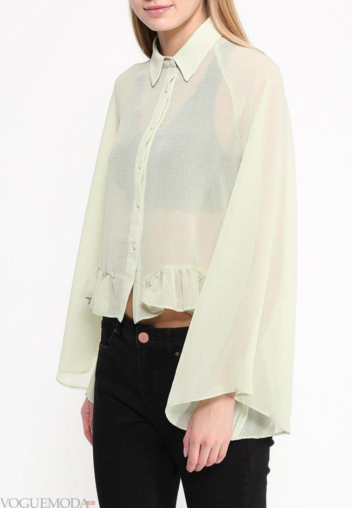 блузка с прозрачной тканью светлая