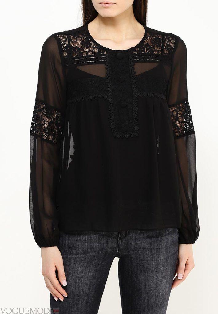 блузка с прозрачной тканью чёрная