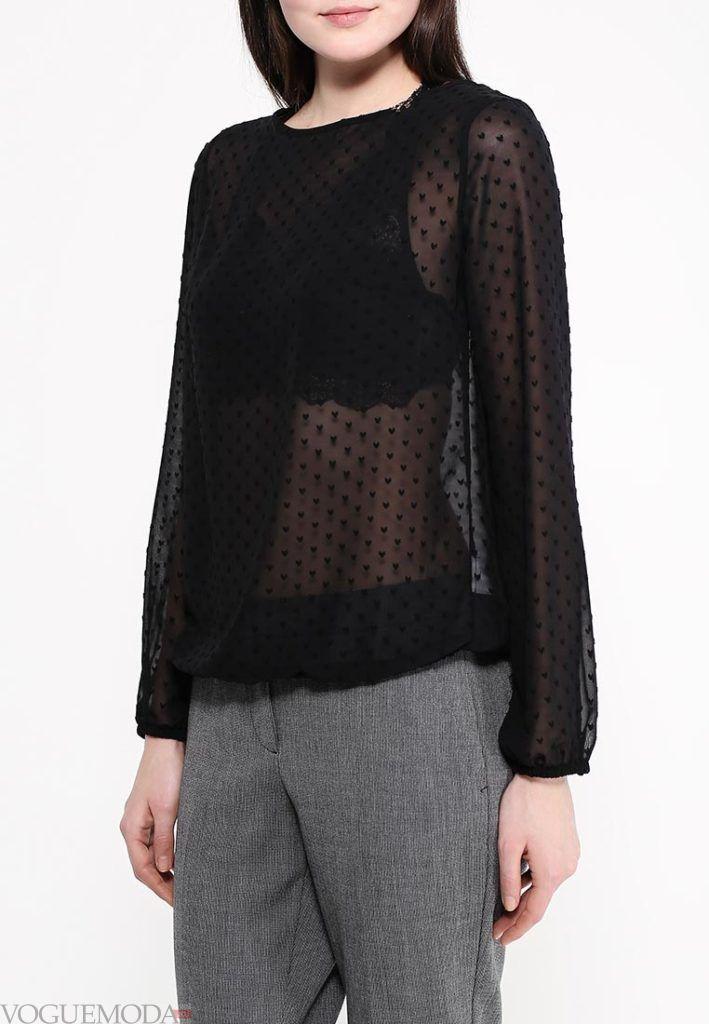 блузка с прозрачной тканью в горошек