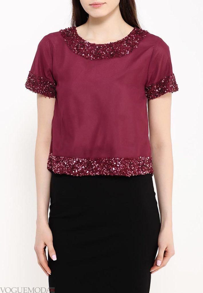 блузка с декором бордо