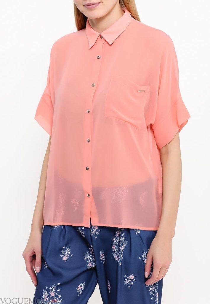 блузка с прозрачной тканью с пуговицами
