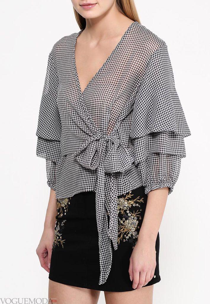 блузка с прозрачной тканью с бантом