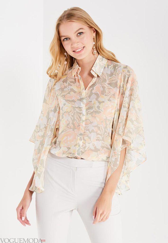 блузка с прозрачной тканью разноцвет