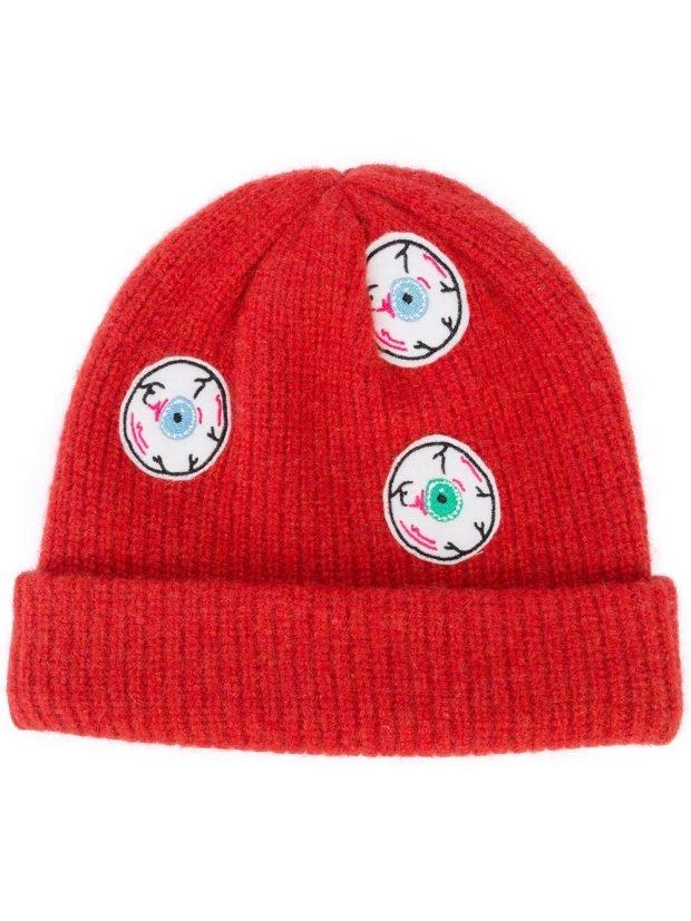 шапка бинни красная
