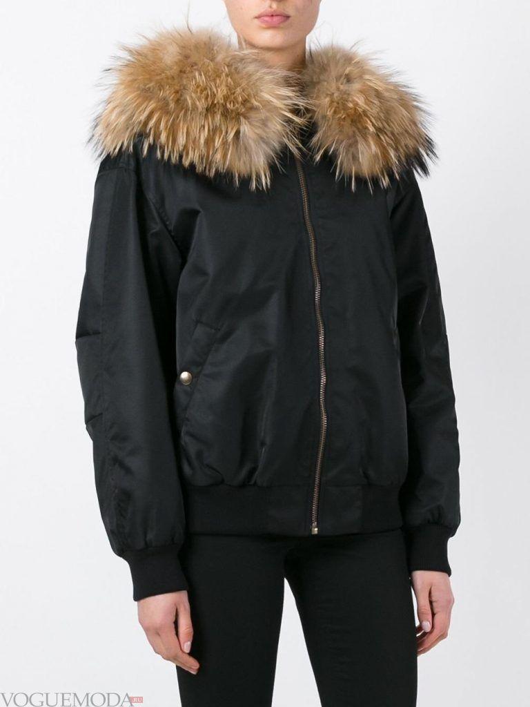 куртка с мехом черная