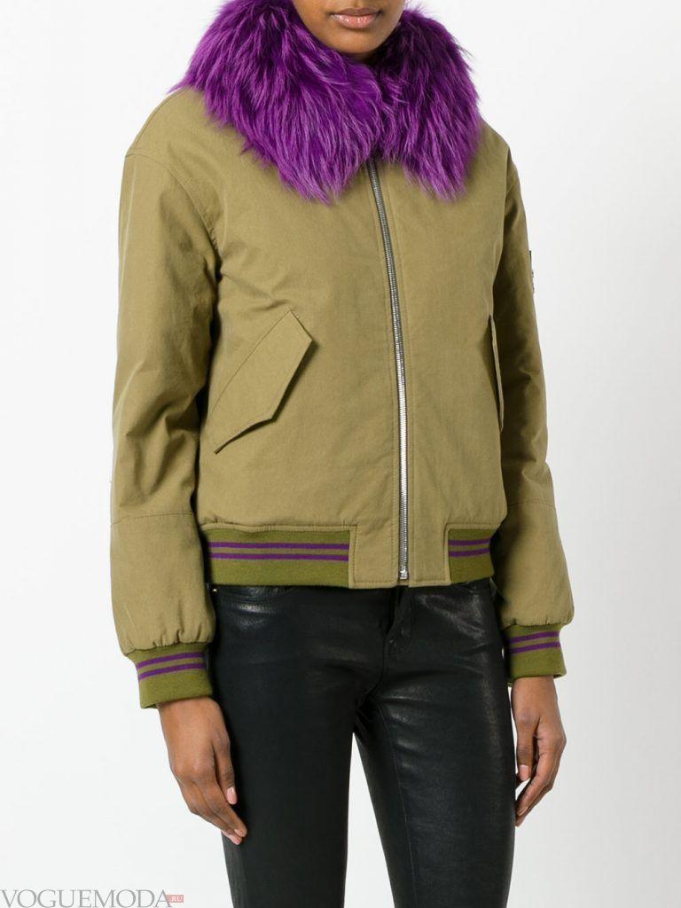 куртка с фиолетовым мехом