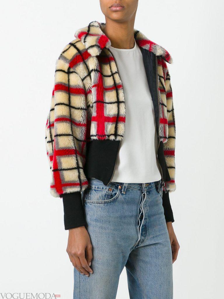 куртка с мехом в клеточку