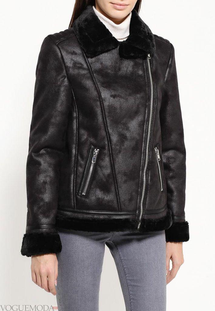 куртка дубленка черная