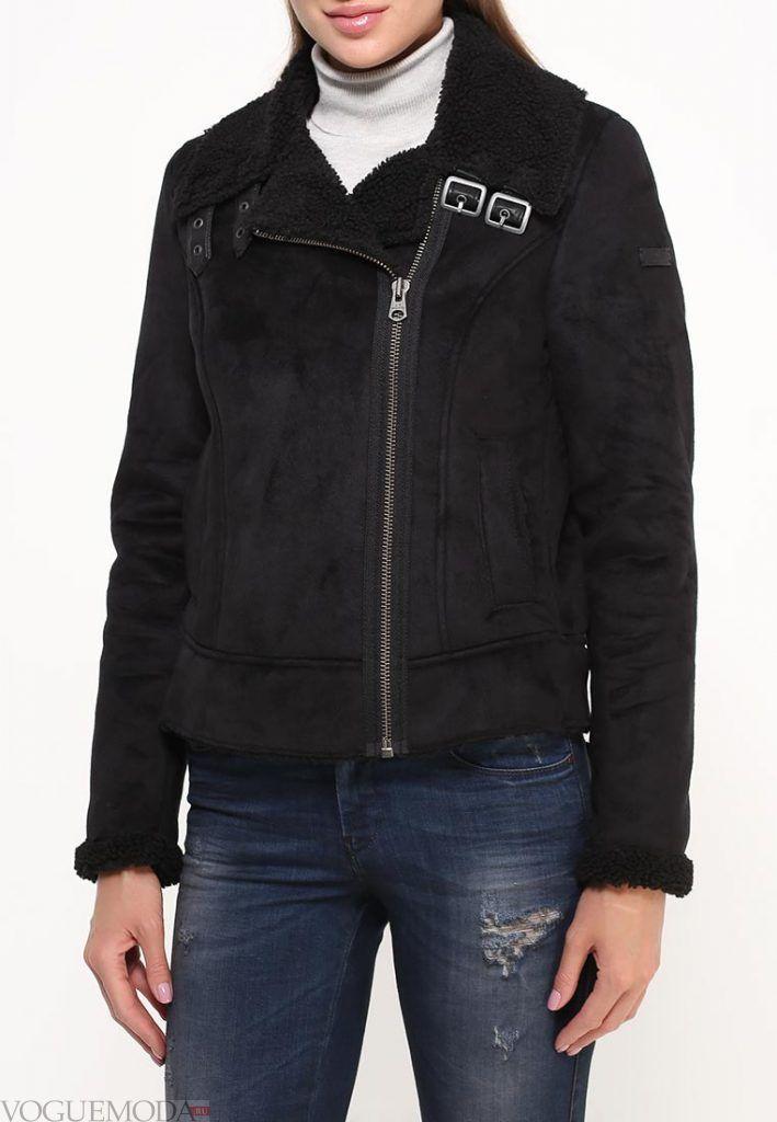 куртка дубленка с декором