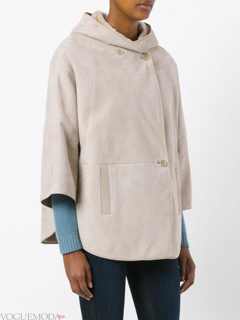 куртка дубленка с капюшоном