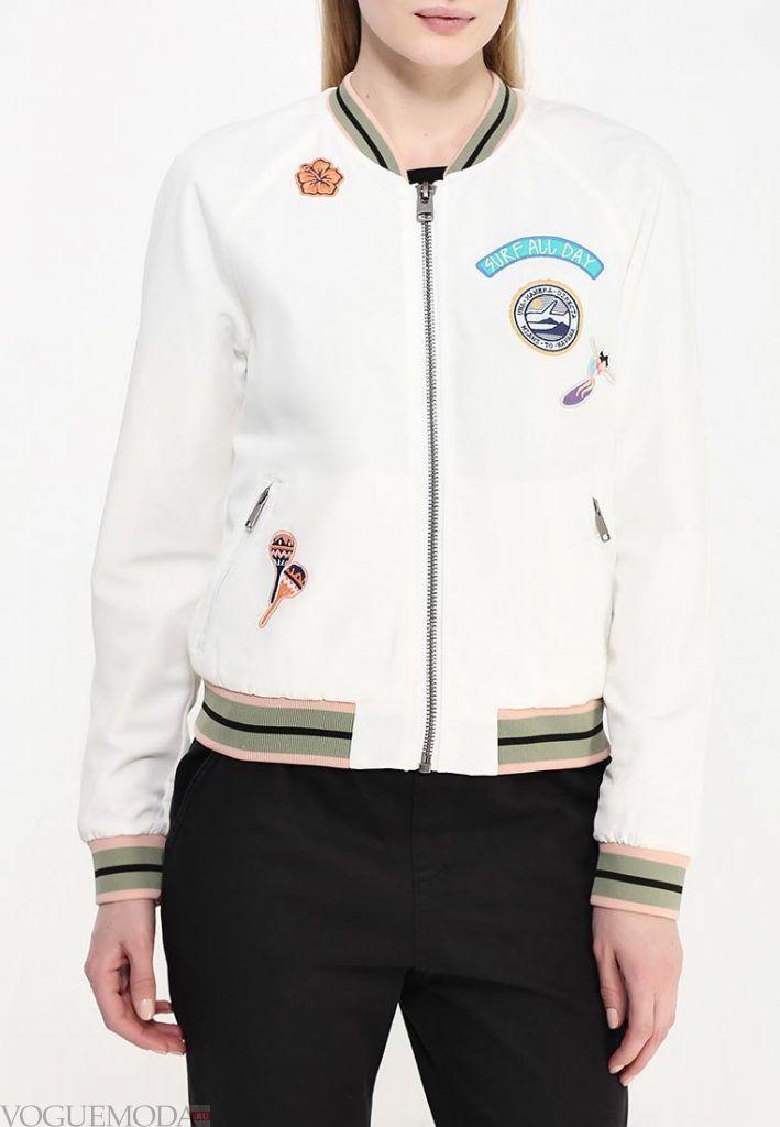 куртка бомбер белая