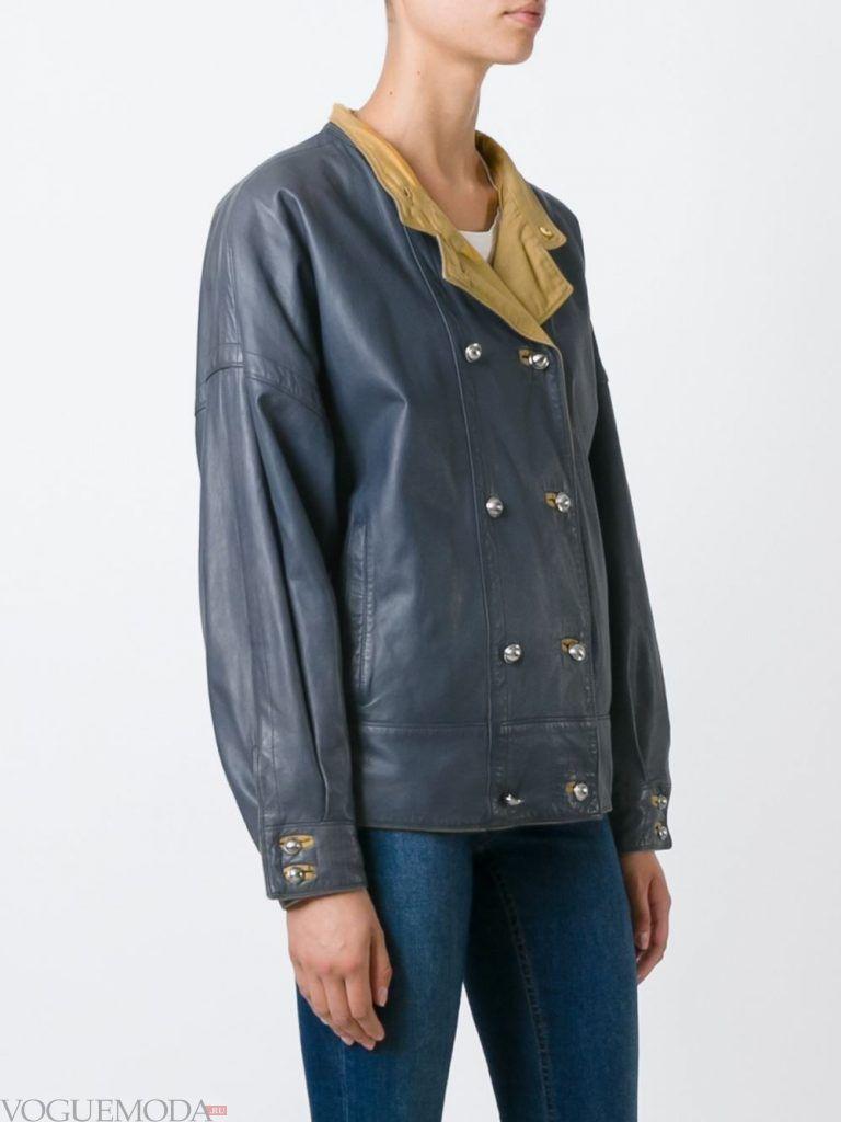 кожаная куртка с воротником