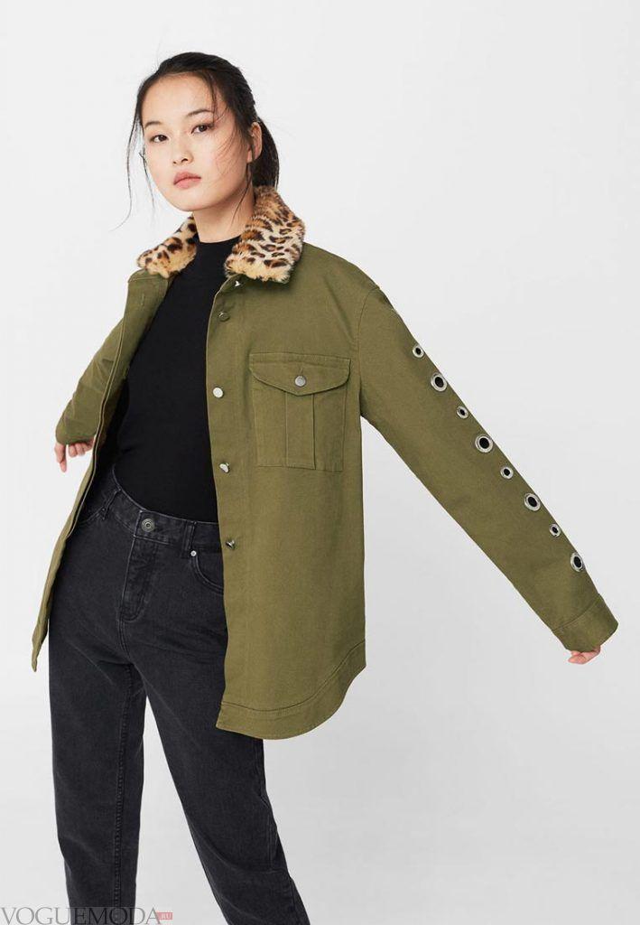 куртка осень зима оливковая