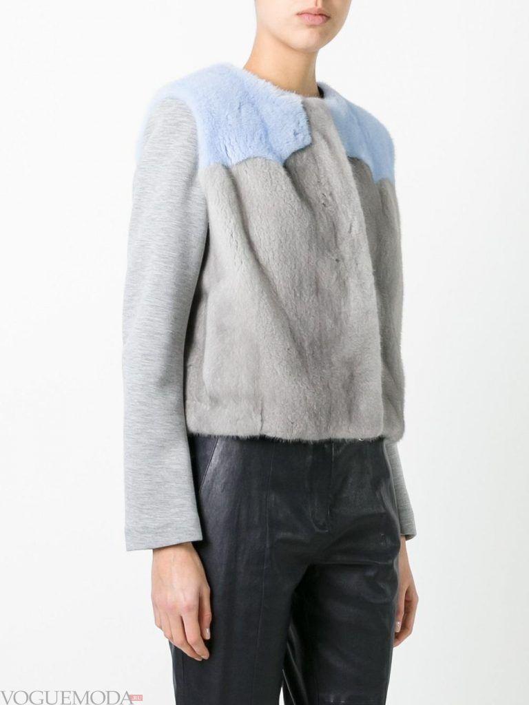 куртка с мехом серая