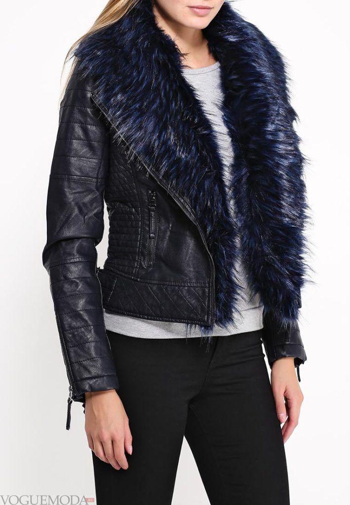 куртка косуха с синим мехом