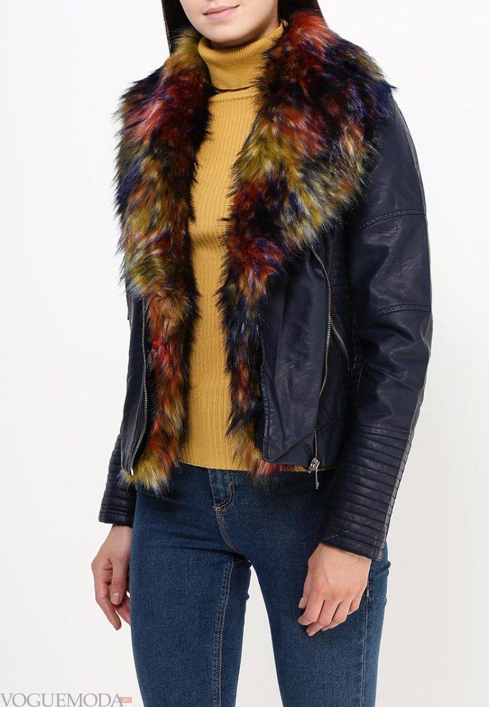 куртка косуха с жёлтым мехом