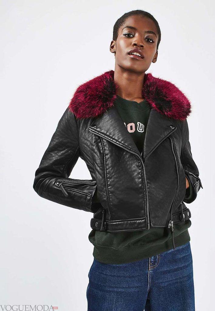 куртка косуха с красным мехом