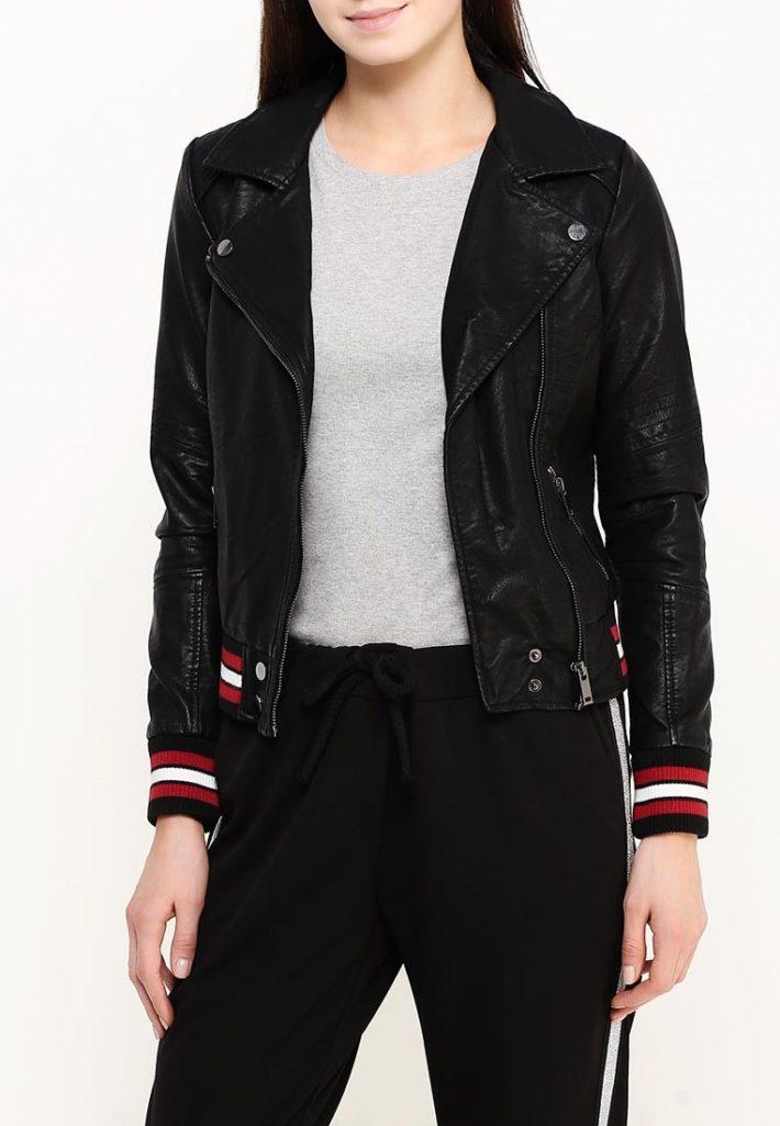 куртка косуха с цветными манжетами