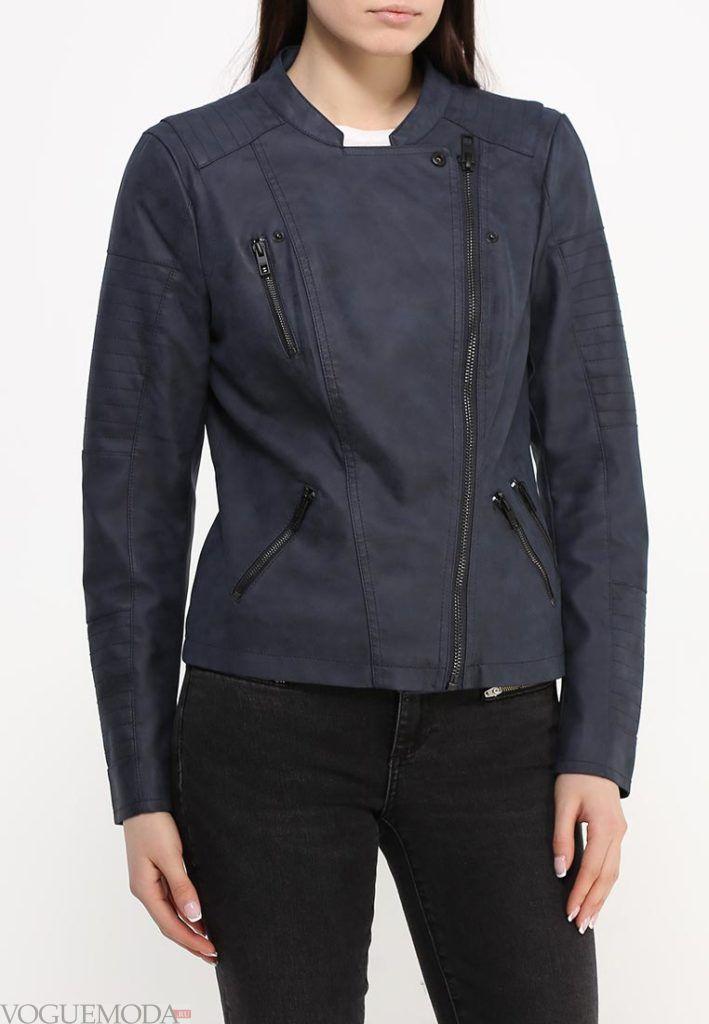куртка косуха кожаная синяя