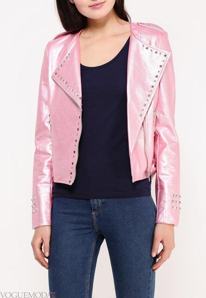 куртка косуха с декором розовая