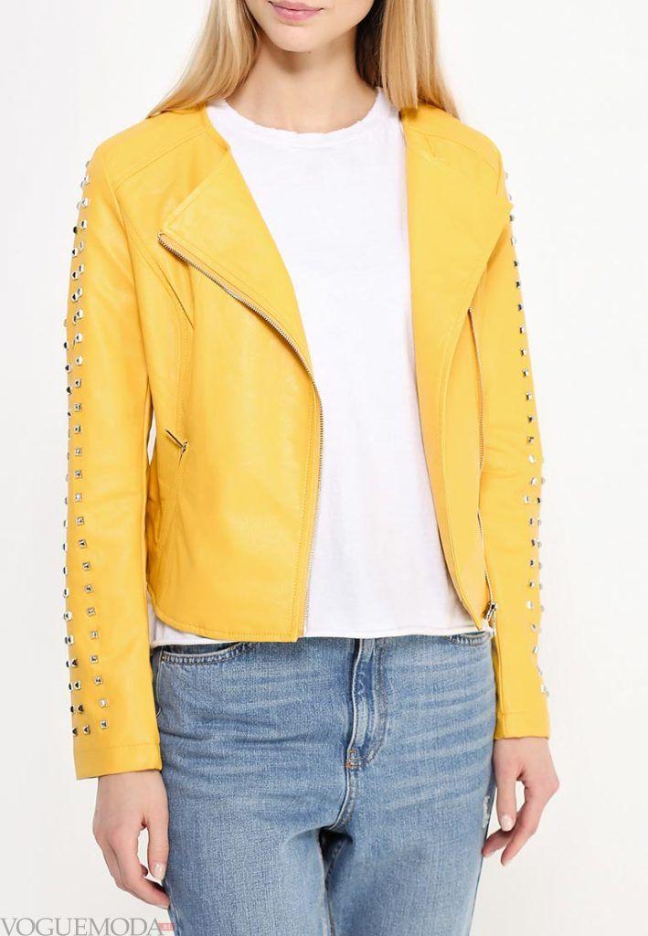 куртка косуха жёлтого цвета