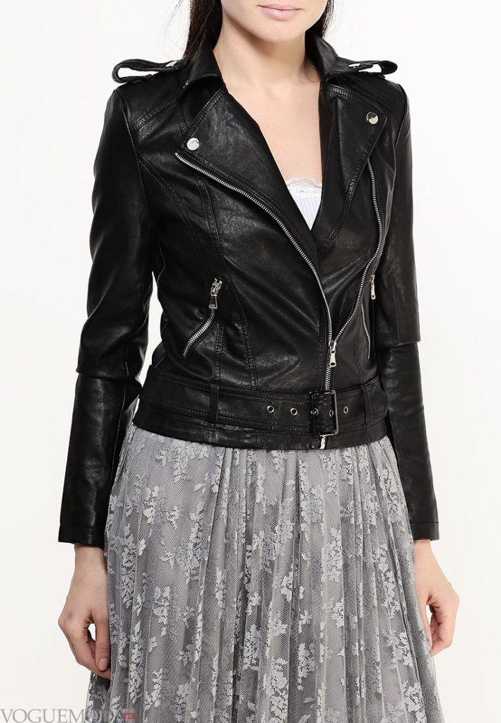 куртка косуха с декором чёрная