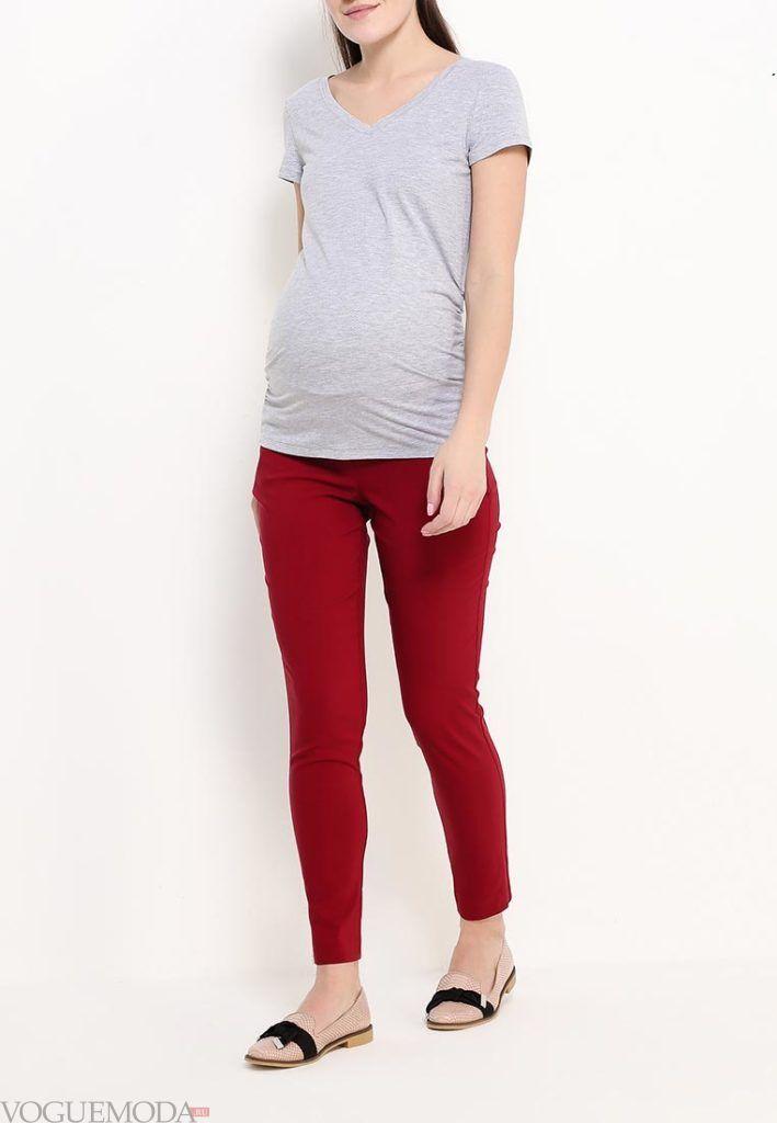 брюки для беременных красные