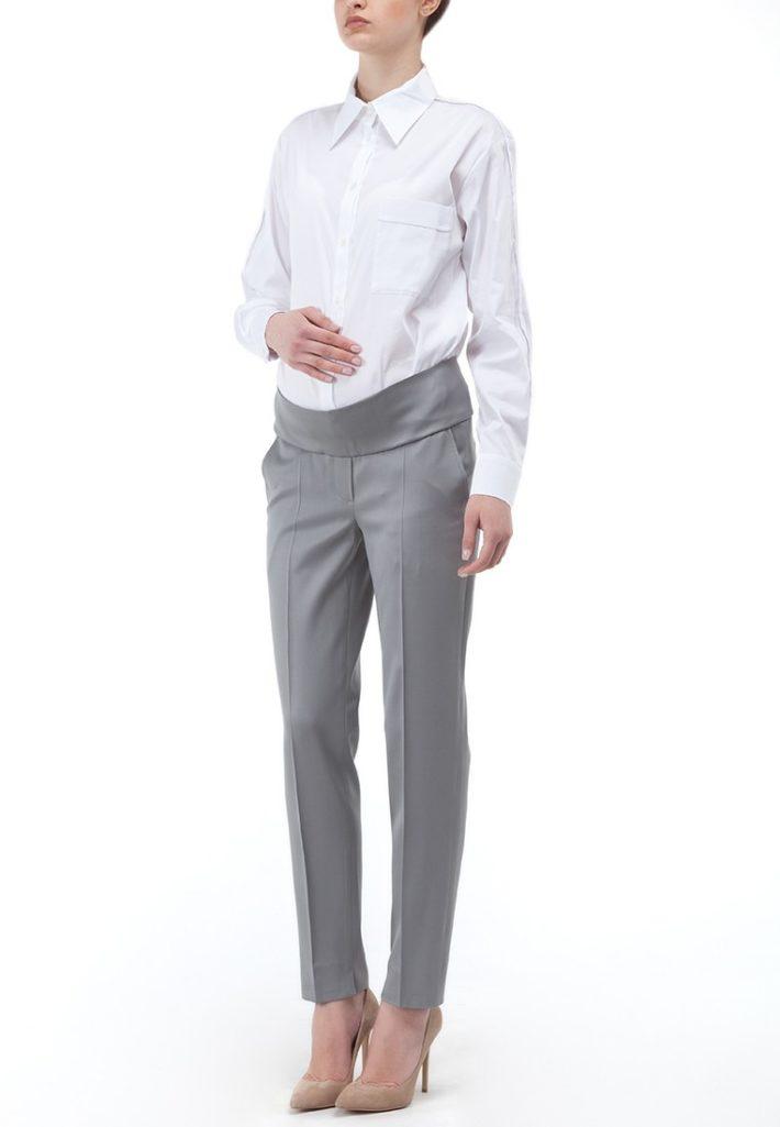 брюки для беременных серые