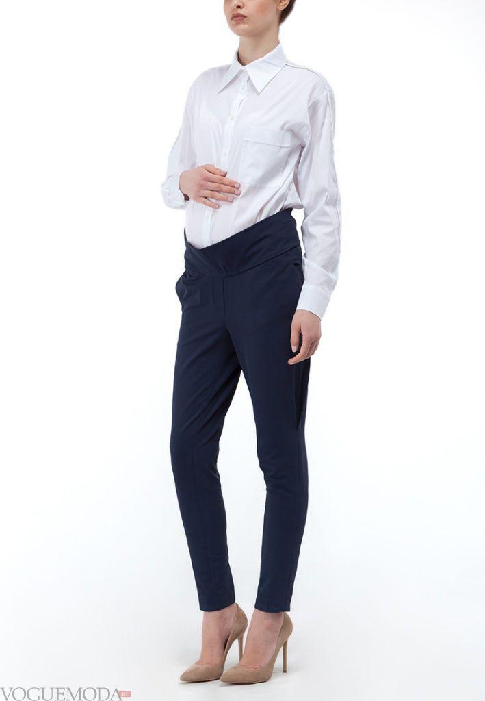 брюки для беременных синие