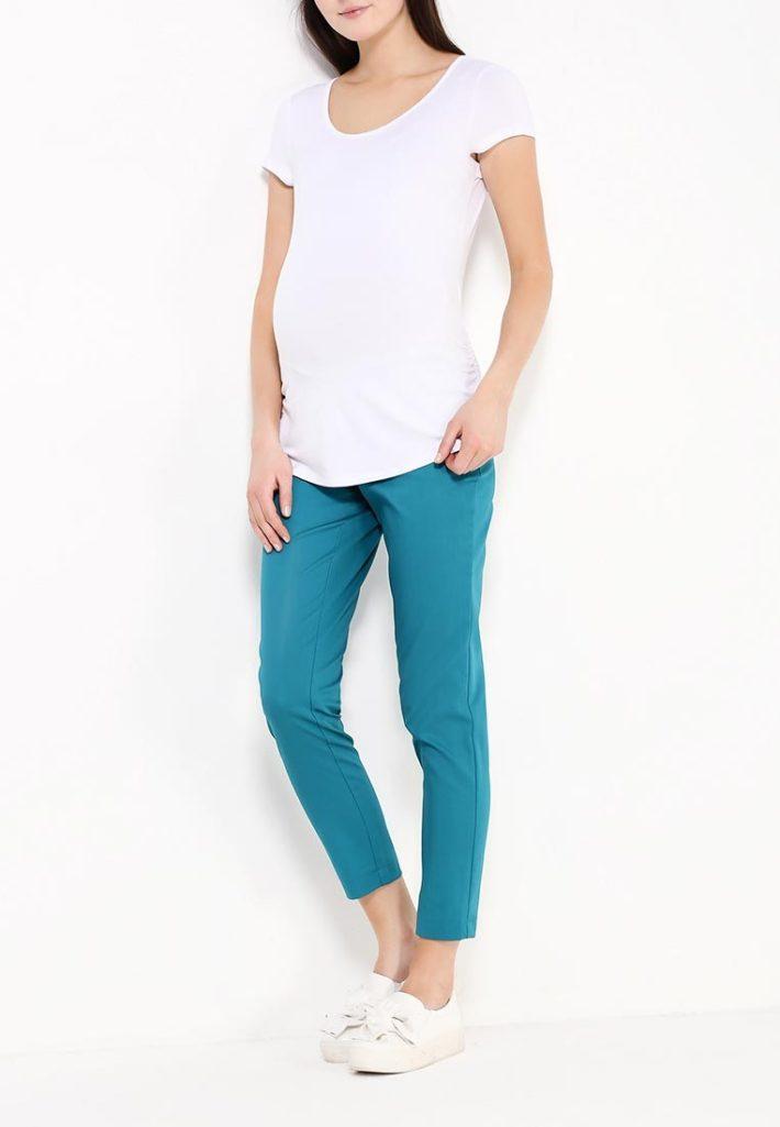 брюки для беременных голубые
