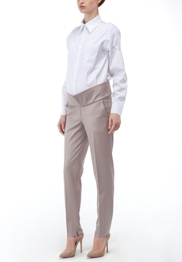 брюки для беременных нюдовые