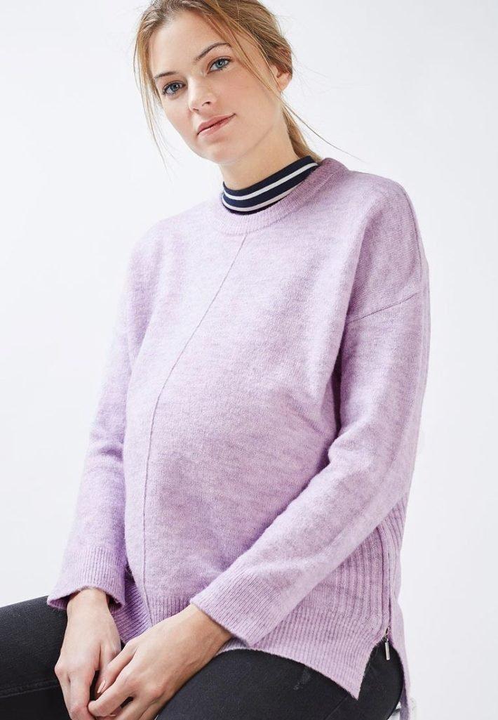 свитер для беременных лиловые