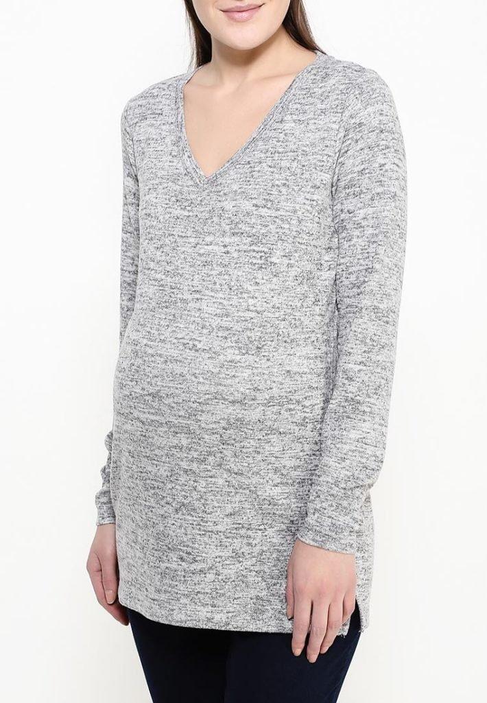 свитер для беременных серый