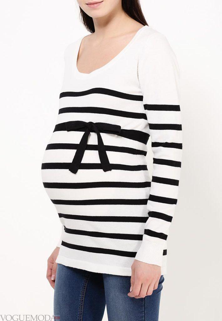 свитер для беременных с полосками