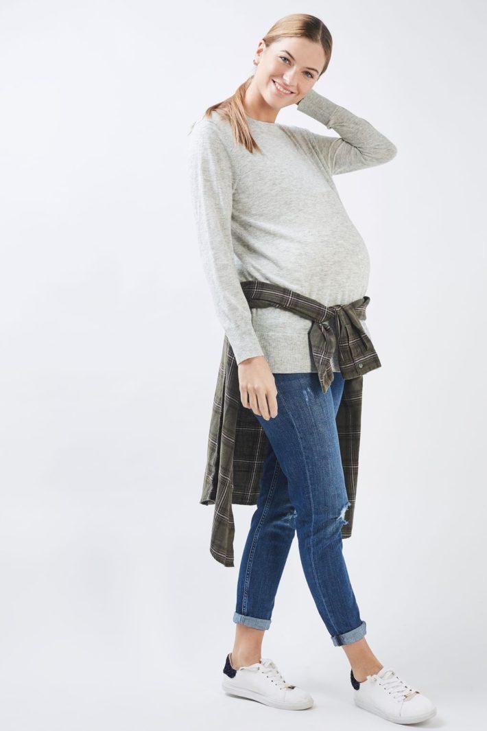 свитер для беременных светлый