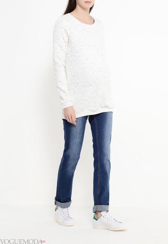 свитер для беременных белый