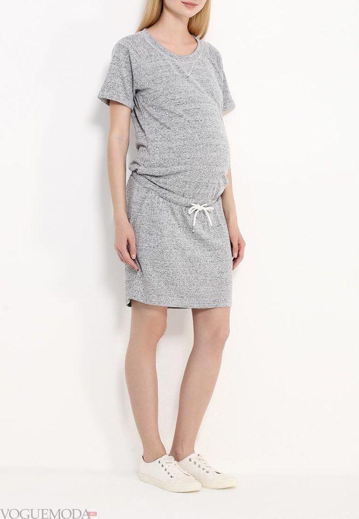 платье для беременных серое