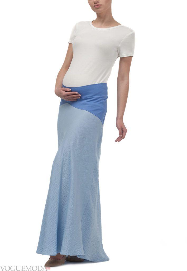 юбка для беременных голубая