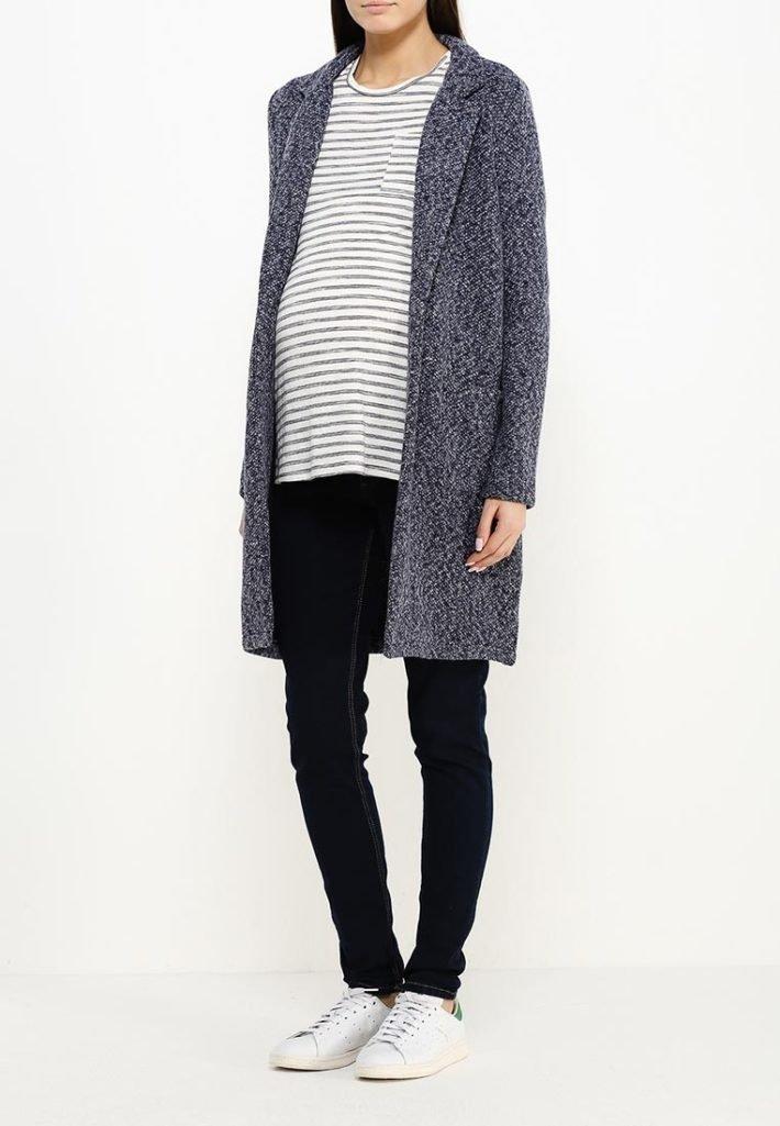 пальто для беременных серое