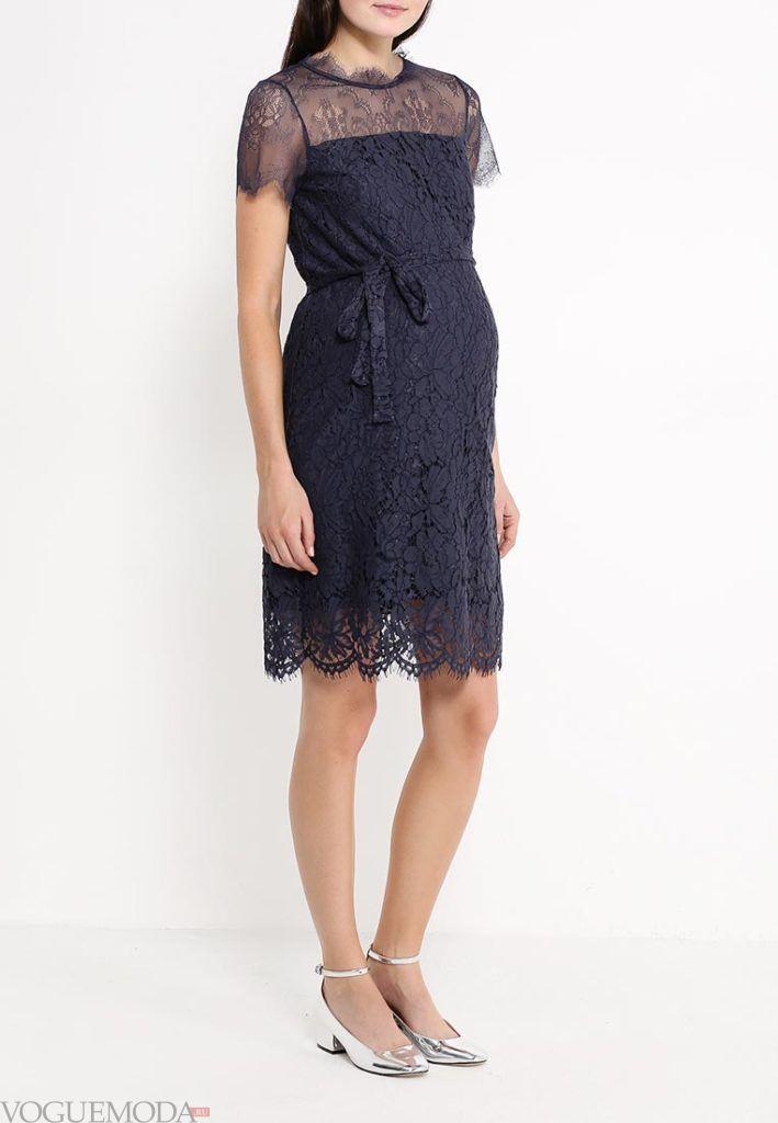 платье для беременных синее