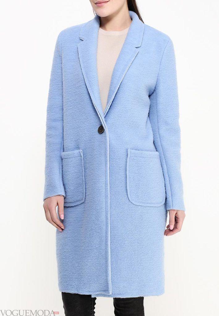 пальто для беременных голубое