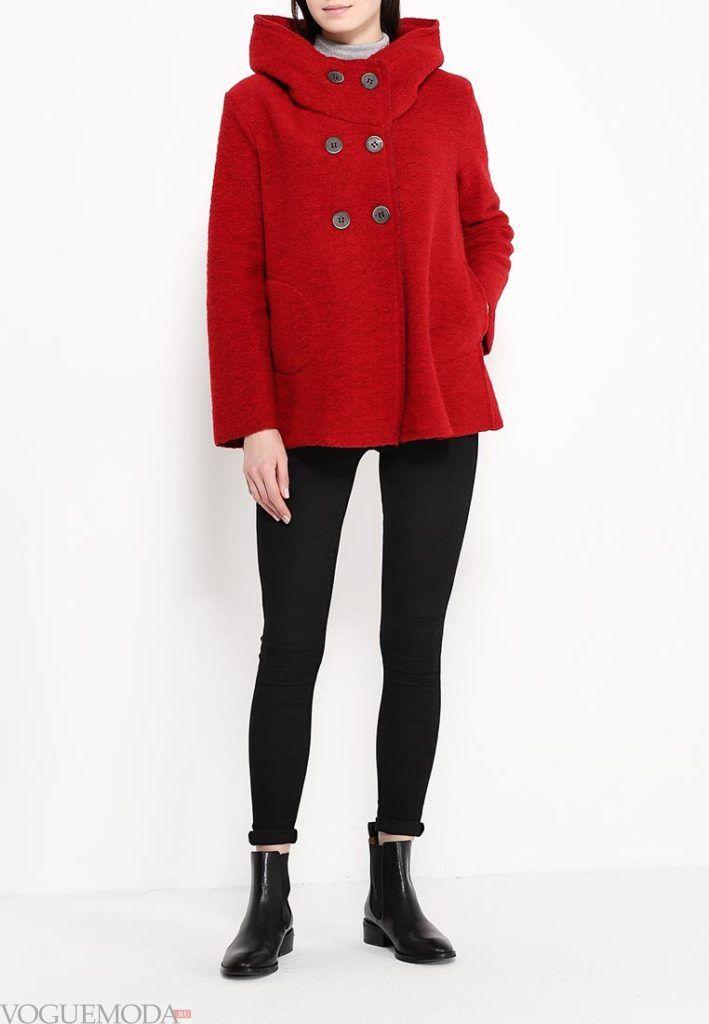 пальто для беременных красное