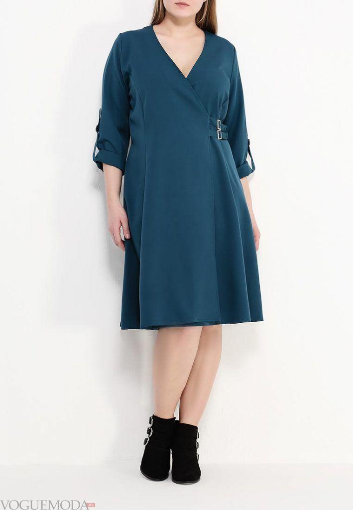 платье для полных синее