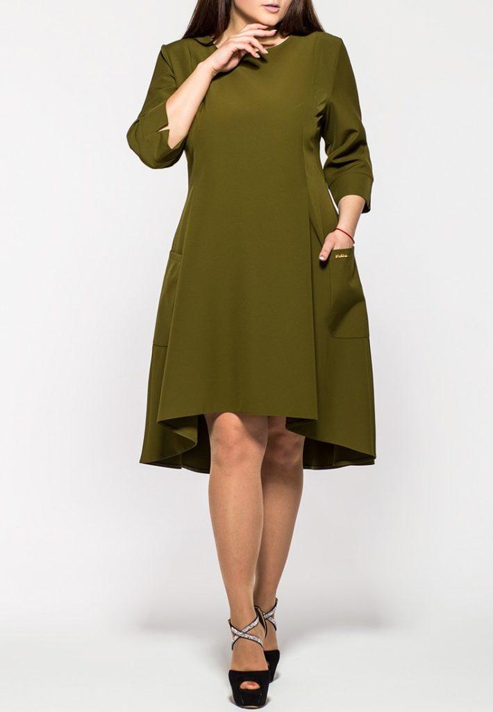 платье для полных оливковое