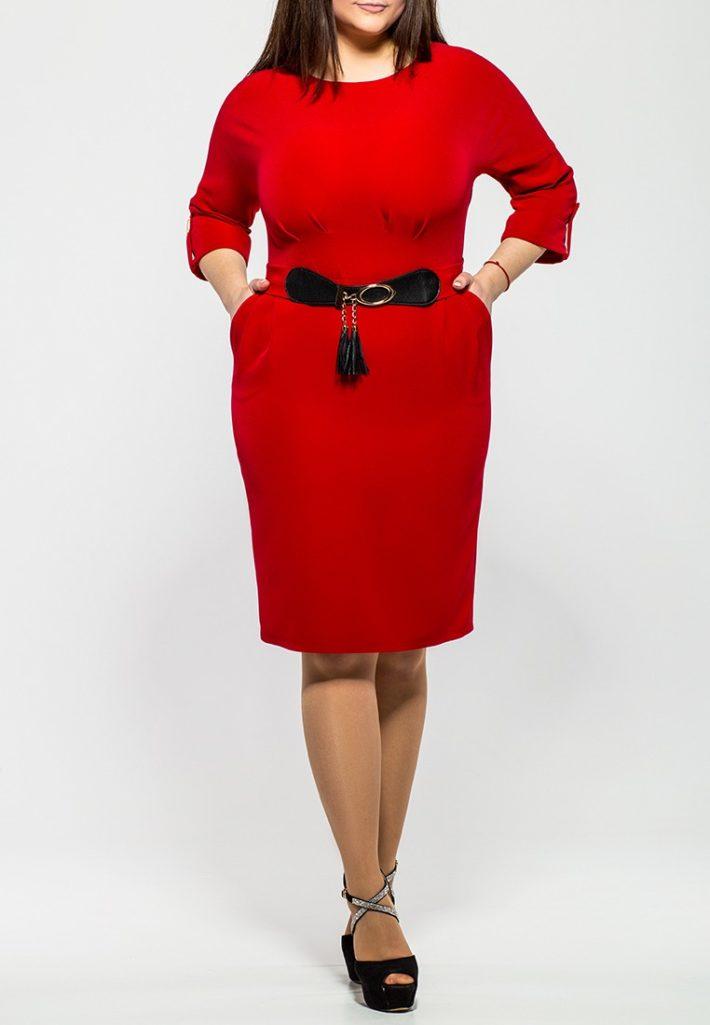 платье для полных красное