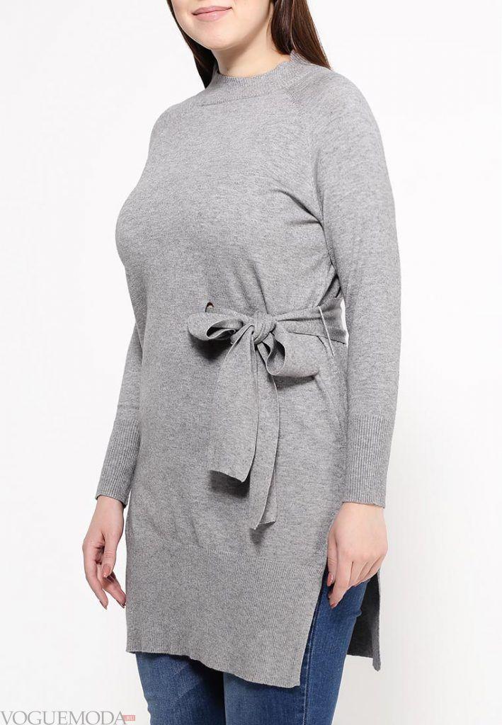 свитер для полных серое